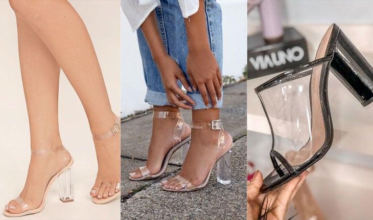 Resultado de imagem para sandália transparente